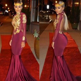 Burgundy Mermaid Prom Dresses High Neck Sexy Hollow Out Backless Long Sleeves Gold Appliques Vintage Evening Dresses New South African