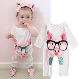 Wholesale 2016 Newborn Infant Baby Girl Bodysuit cute pig rabbit funny face printed Rompers lovely animal Jumpsuit top boy Outfit Sunsuit cute Clothes