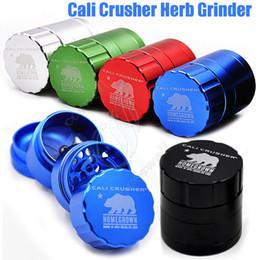 Descuento capas base New Cali trituradora Grinder 4 capas 42mm 53mm tabaco metal de alto grado de aleación de aluminio Herb Spice trituradora caja de regalo vaporizador a base de hierbas Grinders