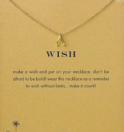 Dogeared Necklace with wishbone pendant (Wish)(Thanks), noble and delicate, no fade, free shipping and high quality.