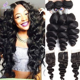 Modern Show Brazilian Loose Wave 3 Bundles with Lace Closure Brazilian Human Hair Bundles with Closure Brazilian Virgin Human Hair Weave