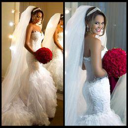 Vestido De Noiva Romantic Mermaid Lace Wedding Dresses 2020 Sweetheart Ruffled Pleated Wedding Bridal Gowns Custom Made