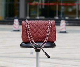 Chaîne grand sac à vendre-Fab Prix Grand Classiel 30CM Jumbo Chaîne Quilted Rouge foncé Véritable caviar en cuir à double rabats Fashion Shoulder Chain Bag Or / Argent Hw