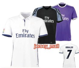 Wholesale 2016 Real Madrides home away purple New font RONALDO JAMES BALE rd black Freeshipping Air mail Free Customize name number sport clothing