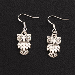 Owl Bird Earrings 925 Silver Fish Ear Hook E991 40pairs lot Antique Silver Dangle Chandelier 11x36mm