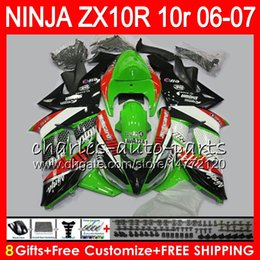 8Gifts 23Colors Body For KAWASAKI NINJA ZX 10 R ZX10R 06 07 04 05 39HM8 ZX 10R ZX1000 C ZX1000C 06 ZX-10R 2006 2007 Green black Fairing kit