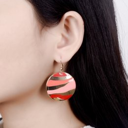 Wholesale Trendy Gold Plated Metal Hook Drop Earrings Multicolor Enamel Leaf Stripe Dangle Earrings For Women Girls Ethnic Jewelry Brincos