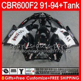 8 Gifts 23 Colors For HONDA CBR600F2 91 92 93 94 CBR600RR FS West black 1HM36 CBR 600F2 600 F2 CBR600 F2 1991 1992 1993 1994 black Fairing