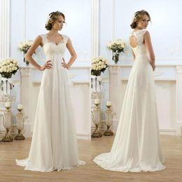 2019 New Cheap Romantic Beach A-line Wedding Dresses Cap Sleeve Keyhole Lace Up Backless Chiffon Summer Floor Length Bridal Gowns