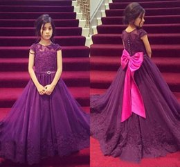 2017 Purple Girls Pageant Dresses with Cap Sleeve Lace Appliques First Communion Dresses Princess A Line Flower Girls Dresses Big Bow Beaded