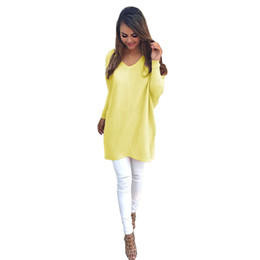 Wholesale Colorful Apparel Sexy long sleeve thin knitted sweater Women v neck pullovers knitwear Autumn winter white jumper pull CA737