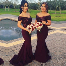 Burgundy Sequins Mermaid Bridesmaid Dresses 2017 Boat Neck Long Maid Of Honor Dress Wedding Party Gowns