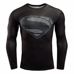 Wholesale 2016 Newest Marvel comics superheroes batman avengers sports T shirt man compression armour base layer long sleeved top fitness XS XL