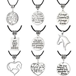 Wholesale Fashion New Leather Charm Necklace Antique Silver with Letter Stamped Charm Necklace Family Necklace Gift for Mother and Father