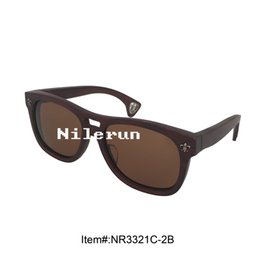 unisex men women dark brown bamboo frame sunglasses with metal pins