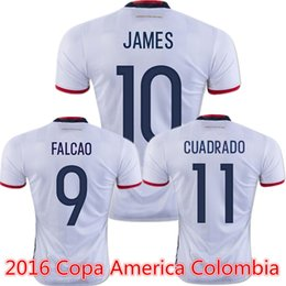 Wholesale 2016 Colombia Jerseys James Rodriguez camisas Falcao Cuadrado Copa America Cup Away White Top Quality Soccer Jerseys Kit