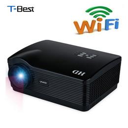 Promotion quad lcd Grossiste- Uhappy H2 5500Lumens projecteur plein hd Quad Core Android 4.4 WiFi Smart 1080P 3D LCD Home Cinéma TV LED projecteur Vidéo Beamer