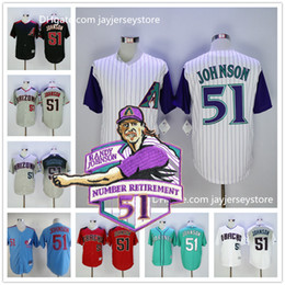 Wholesale Randy Johnson Jersey with retirement Patch Arizona Diamondbacks Montreal Expos Seattle Mariners White Grey Green Red Pinstripe