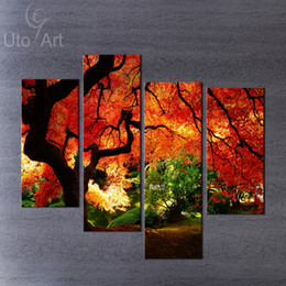 Modern Wall Art Paintings Landscape Canvas Printed Picture Panels of Red Maple Tree Decor for Living Room