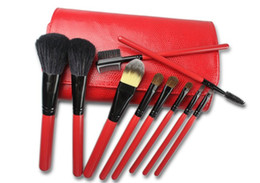 Wholesale 10 Basic Makeup Brush set Red Case Makeup Brush Set Make up Tool Combinations