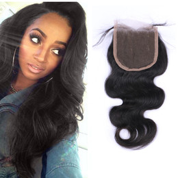 7A Brazilian Virgin Hair Human Weave Closures Body Wave Natural Black 4x4 Lace Closures Three Middle Free Part 8-20 Inches crochet