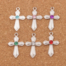 Crystal Sword Dots Cross Charms 120pcs lot 6Colors Silver Plated 16x26mm Pendants Fashion Jewelry Fit Bracelets Necklace Earrings L1554