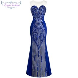 Angel-fashions Women's Round Neck Sleeveless See Through Sheer Illusion Sequins Full Length Party dresses Prom Gown 147