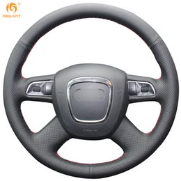 Mewant Black Genuine Leather Car Steering Wheel Cover for Audi Old A4 B7 B8 A6 C6 2004-2011 Q5 2008-2012 Q7 2005-2011