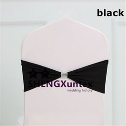 Black Color Lycra Spandex Chair Band Include The Buckle For Chair Cover Decoration
