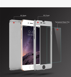 Wholesale 360 Degree Colorful Full Body Luxury Clear Glass Screen Protector Hard PC Back Case Cover For iPhone 7 7 Plus