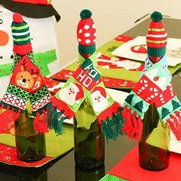 Christmas decoration bottle decoration Christmas knit scarf hat Christmas red wine bottle decoration new