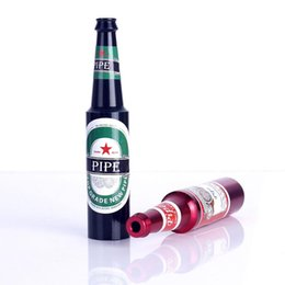 Wholesale Mini Metal Pipe Pipes Portable Beer Bottle Smoking Pipe Herb Tobacco Pipes Smoke Accessories Awesome Cool Favorite Gifts For Buddy Men