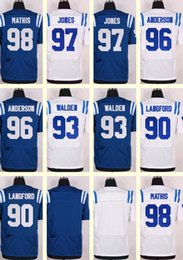 Wholesale 2016 New Men s Indianapolis Mathis Jones Anderson Walden Langford Blank Blue White jerseys Drop SHipping Top Quality CHeap