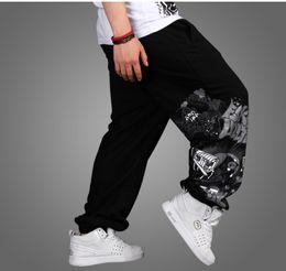 2016 comprimento cintura quadril Atacado de alta qualidade Homens Hot Streetwear Mid cintura elástica impresso Full Length 3 cores Hip-Hop Loose Joggers largas perna Plus Size Calças comprimento cintura quadril promoção