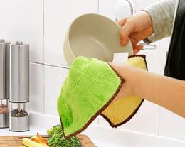 Venta al por mayor cojín del paño en Línea-Venta al por mayor 500Pcs limpieza de la cocina toallitas trapo doble magia fibra de bambú lavado plato de limpieza trapo toalla de limpieza