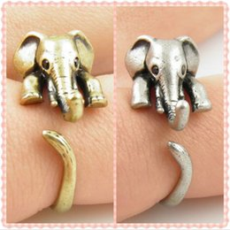 Wholesale Vintage lovely Anti Silver Gold Color Adjustable Elephant Wrap Rings for Women Party Gifts