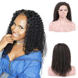 Top Quality Beauty Kinky Curly 130% Density Lace Front Human Hair Wig Brazilian Remy Hair Natural Black Free Shipping