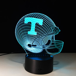 Creative 3D illusion Tennessee Volunteers LED Night Lights 3D Helmet Discoloration Colorful Atmosphere Lamp Novelty Lighting