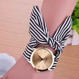 4 Color esign Ladies stripe cloth wrist watch fashion women dress watch high quality fabric watches sweet girls watch feminino