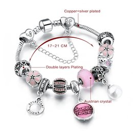 Wholesale European Style Authentic Tibetan Silver PINK Crystal Charm Bracelets for Women Original DIY Beads Jewelry AA65