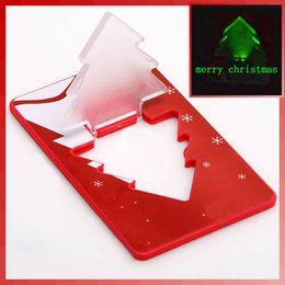 Wholesale 30 OFF Mini LED Christmas Tree Folding Card Night Lights Lamp Pocket Bulb Card customize logo print Creative Gift