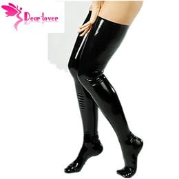 Acheter en ligne Jambes sexy bas-Vente en gros-Dearlover Leg Wear Stockings Femmes Sexy Cludwear Black Latex Bas Faux Cuir Wet Look Vinyle Fétiche Stocking LC7796