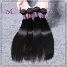 Extensiones humanas del pelo recto del color 4pcs / lot 1B de la armadura del pelo de Malasia 8