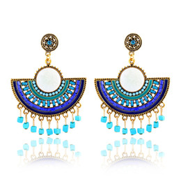 Bohemia style handmade fanshaped earrings rhinestone beads stud flower tassel earrings jewelry top quality factory price free shipping