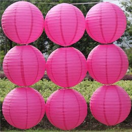 10 Pieces 8 Inch 20 cm Red Chinese Paper Lanterns Round Hanging Paper Balloon For Wedding Party Decorations