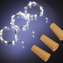 2M 20LED Lampe en forme de bouchon Bouteille Bouchon Lampe en verre Vin LED en argent Fil Chaîne Lumières pour Noël Fournitures de fête Mariage Halloween glass wine stoppers promotion à partir de verre bouchons de vin fournisseurs