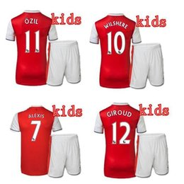Wholesale 2016 kids Arsenals soccer Jerseys Away Yellow OZIL Football kit WILSHERE RAMSEY ALEXIS GIROUD Welbeck Full Shirts