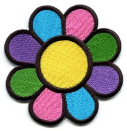WholeSale Custom Pretty Design Flower power boho hippie retro love peace applique iron-on patch free shipping