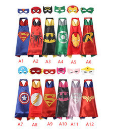 Wholesale hot Double side L70 cm kids Superhero Capes and masks Spiderman Flash Supergirl Batgirl Robin for kids capes with mask by world factory