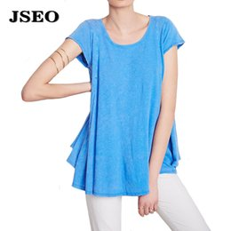 Wholesale Long Sleeve Tunic Top Wholesale - JSEO Womens Swing Tunic Tops Loose Fit Comfy Flattering T Shirt Short Sleeve Scoop Neck Solid Summer Tops Blouse